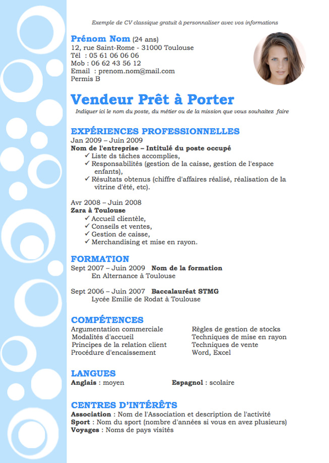 exemple cv vendeuse