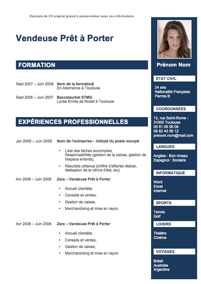 exemple cv original etudiant
