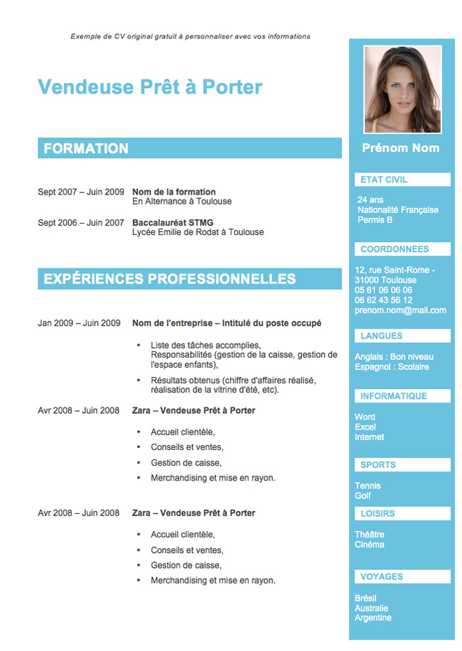 creation de cv gratuit modele cv original a telecharger   CV Anonyme creation de cv gratuit