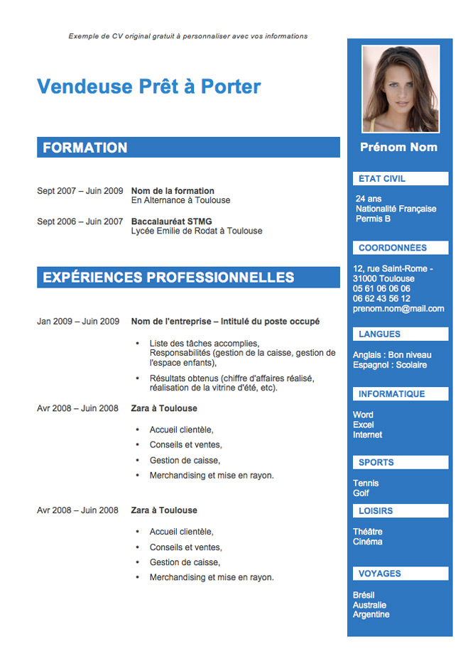modele cv avec photo