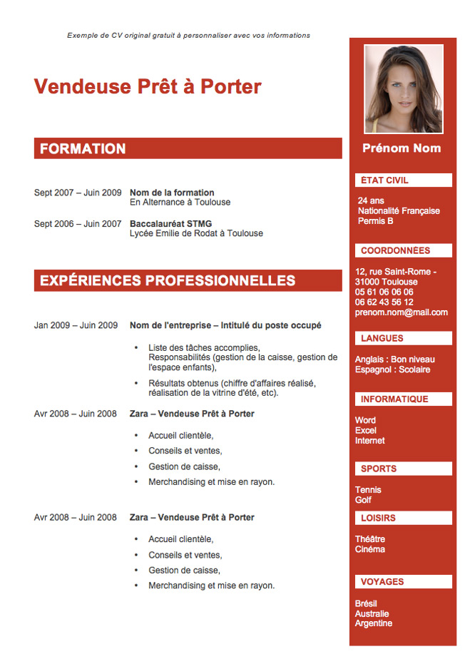 exemple de cv pour job  website createur