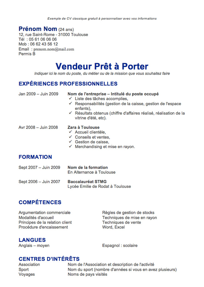 exemple cv simple