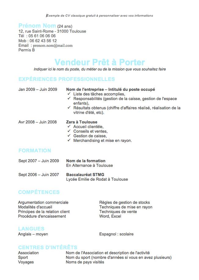 resume format  mod u00e8le de cv gratuit stagiaire