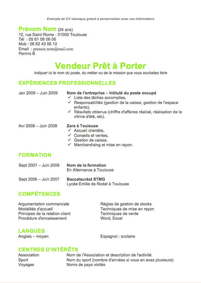 exemple cv manutentionnaire preparateur commande