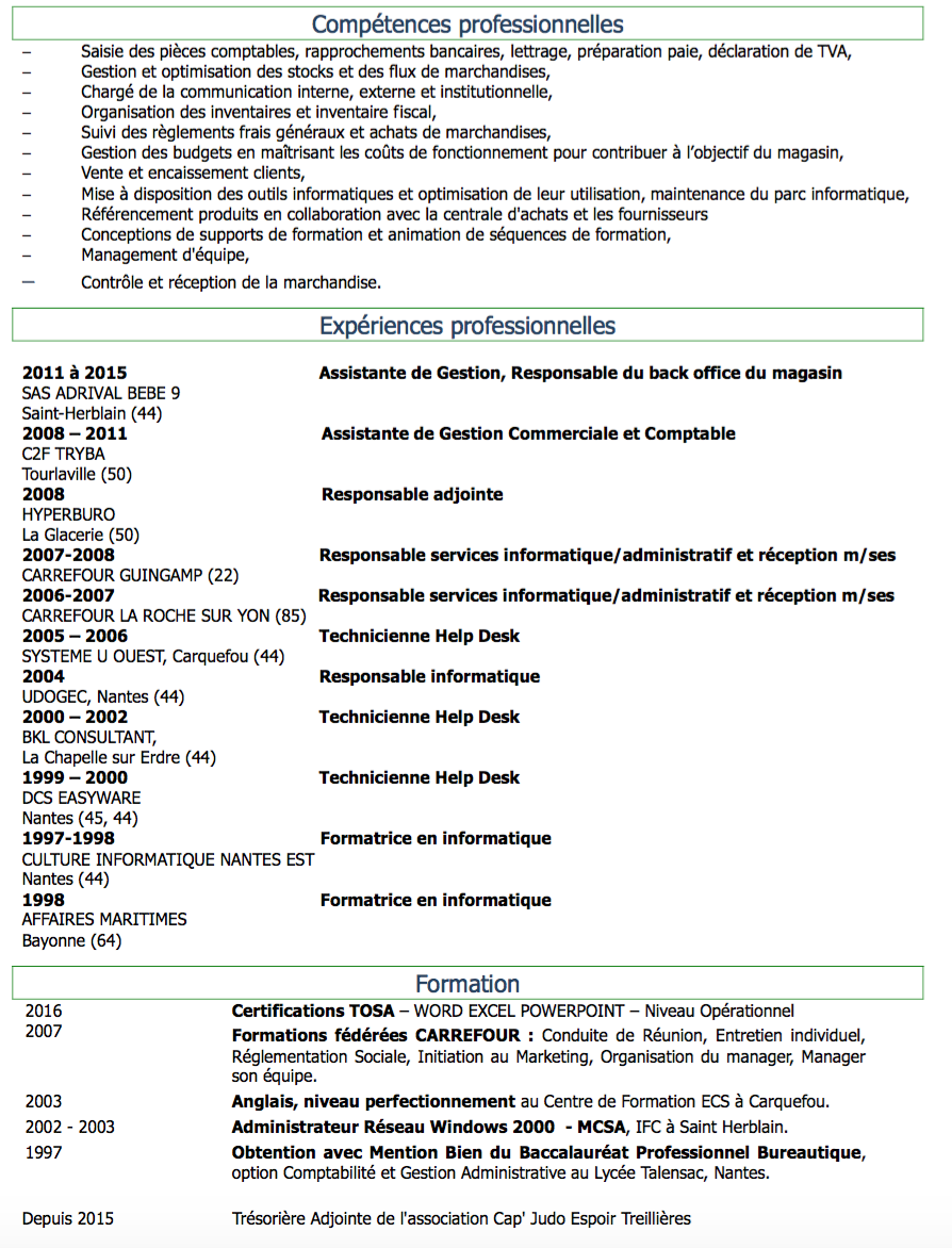 correction cv   assistante de gestion