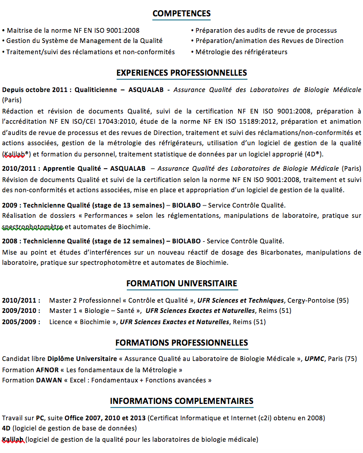 correction cv   management de la qualit u00e9