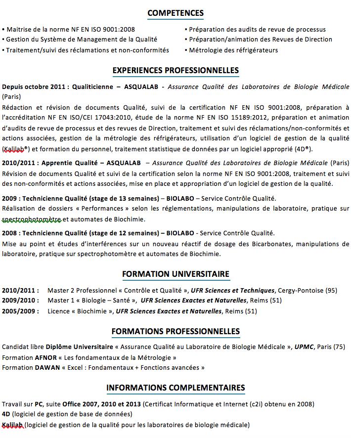 correction cv   management de la qualit u00e9