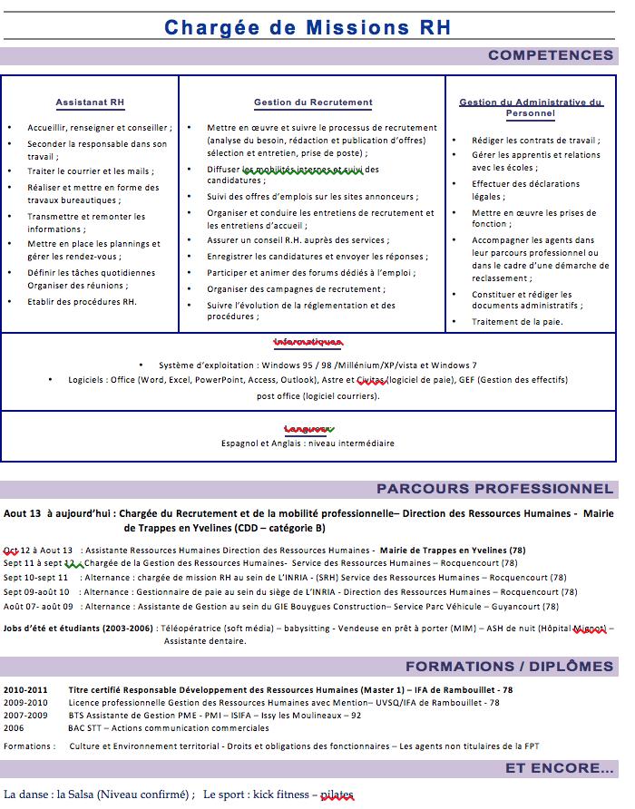 exemple de cv charge d u0026 39 etudes ressources humaines