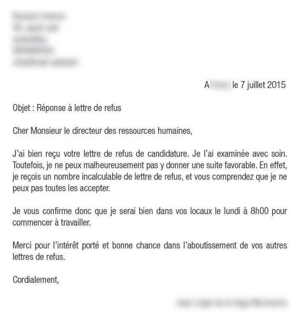 exemple de courrier refus de poste