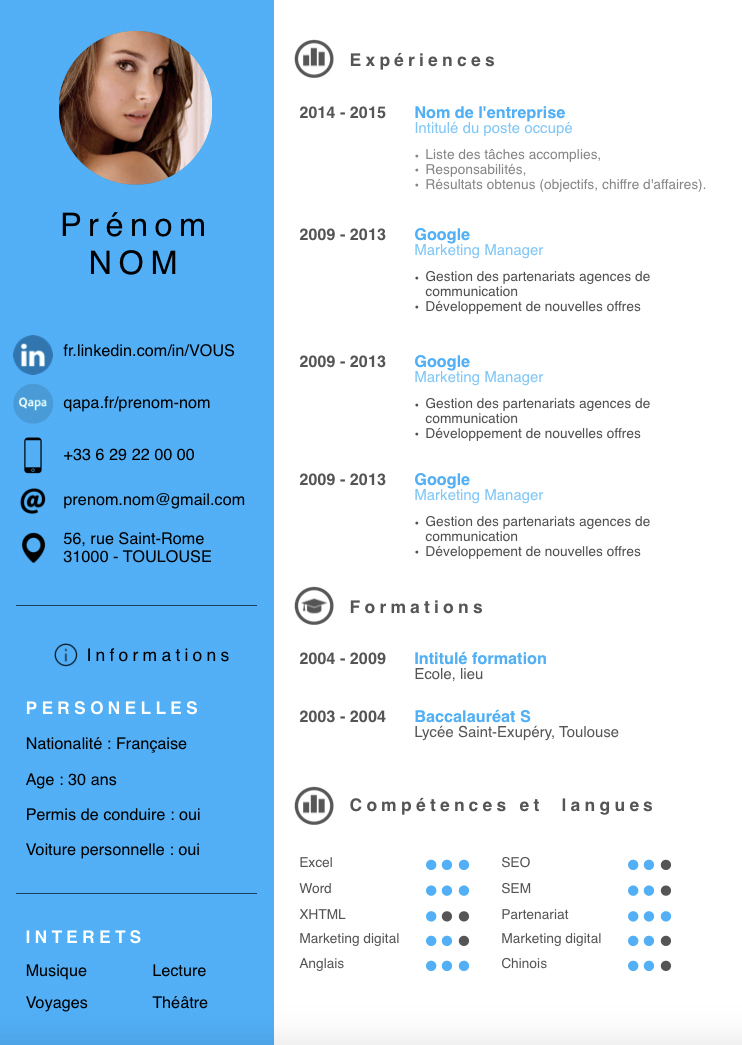 mod u00e8le de cv batur bleu pictures to pin on pinterest