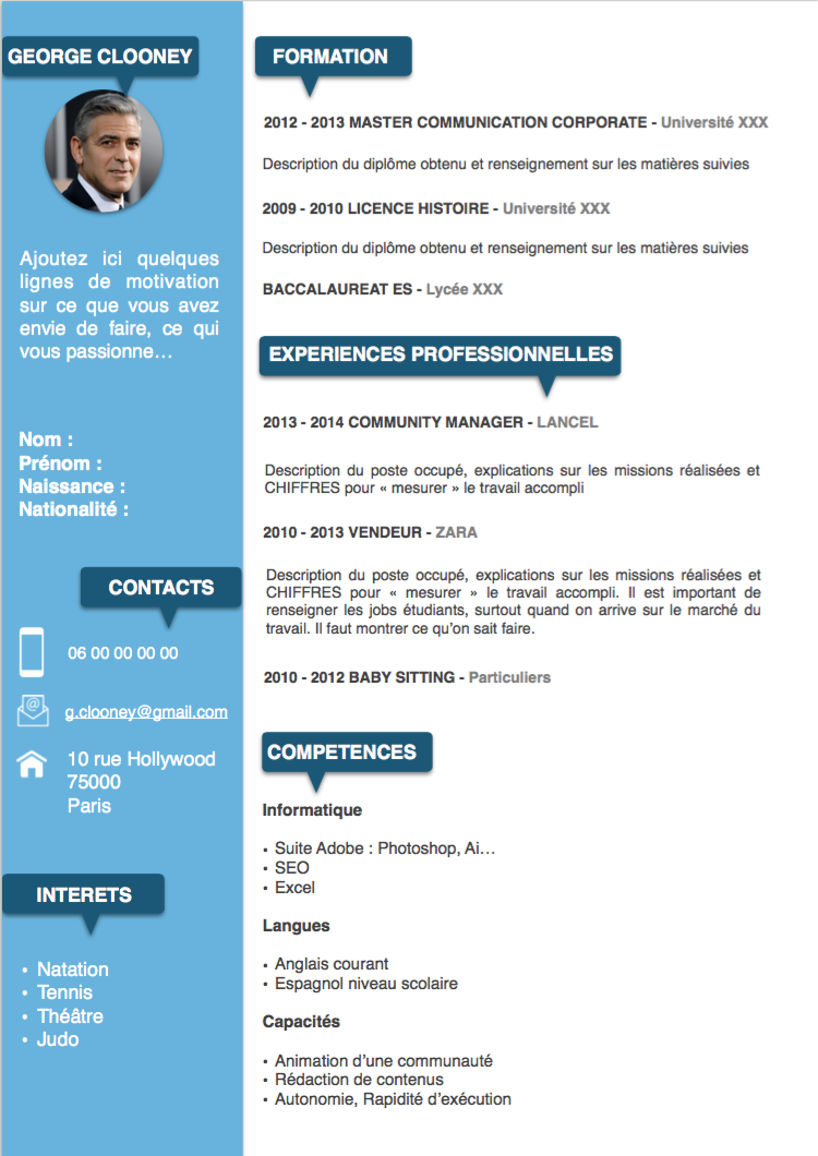 exemple cv professionnel word