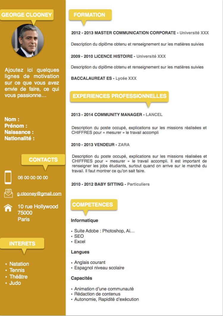 Exemple CV Etudiant jaune