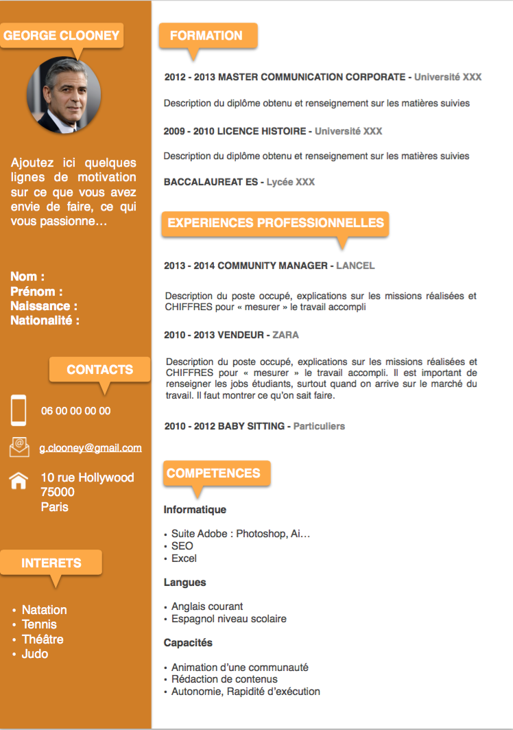 Exemple CV Etudiant orange