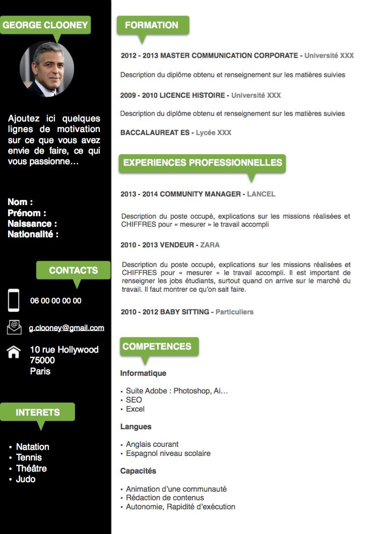 Exemple CV Etudiant noir et vert