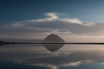 Morro Rock Reflecting an a Lagoon.  Waterscape