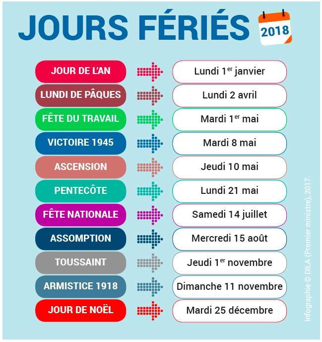 Calendrier Jours Feries.Info Pratique Les Jours Feries En 2018