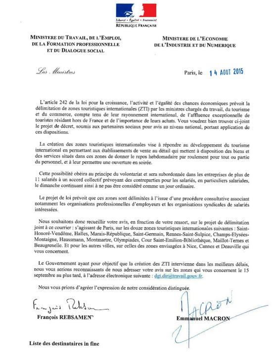 travail dominical lettre emmanuel macron et françois rebsamen aux organisations syndicales et à la mairie de paris